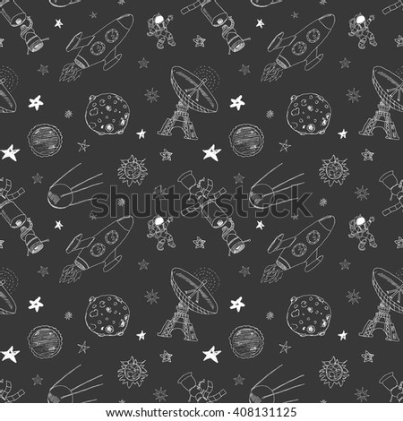 Space doodles icons seamless pattern. Hand drawn sketch with meteors, Sun and Moon, radar, astronaut rocket and stars. vector illustration on chalkboard. - stock vector