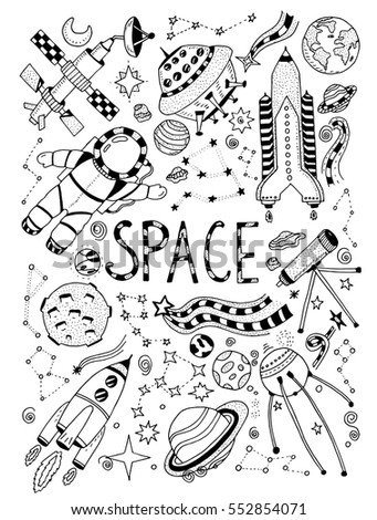 Space doodles objects hand drawn cartoon set of vector illustration