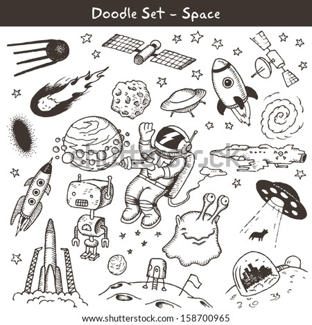 Space doodles -vector illustration - stock vector