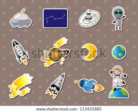 space element stickers - stock vector