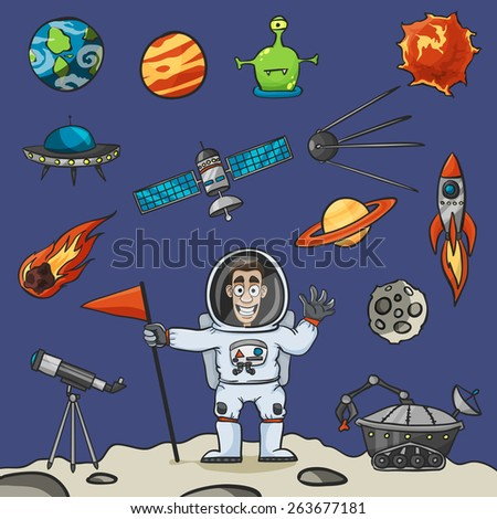 Space elements set with rocket ufo satellite and astronaut vector illustration - stock vector