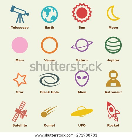 space elements, vector infographic icons - stock vector