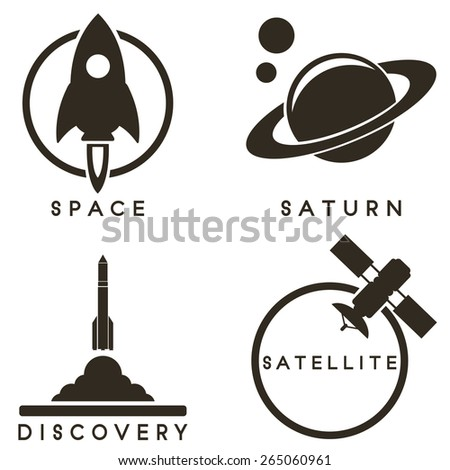 Space emblems - stock vector