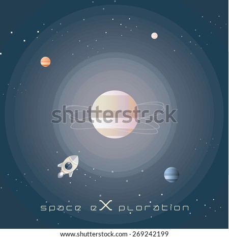 space exploration abstract vector illustration wallpaper in flat design style- universe vastness with planets, stars and spaceship rocket - stock vector