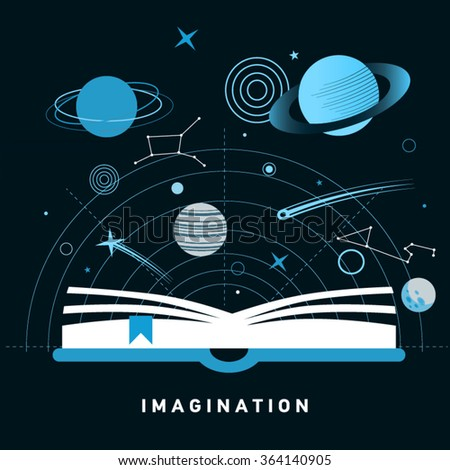 Space exploration concept - open book with solar system elements, including rocket, meteor, planets, stars. Imagination concept made in flat style vector. Book on astronomy - stock vector