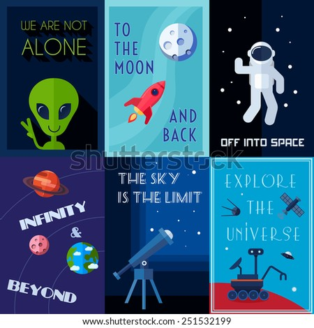 Space exploration human spaceflights mini poster set isolated vector illustration - stock vector