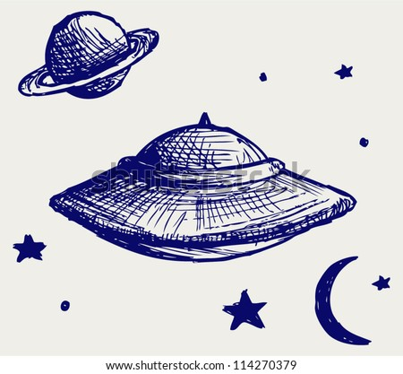 Space flying saucer. Doodle style - stock vector