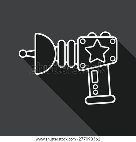Space gun flat icon with long shadow, line icon - stock vector