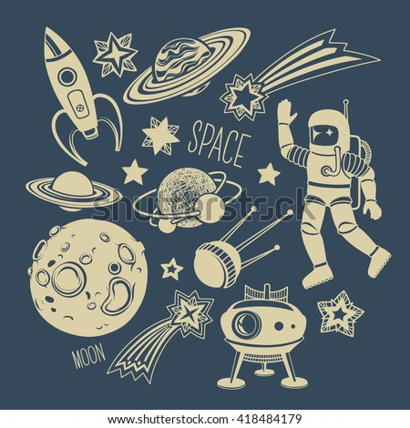 Space Hand-drawn Cartoon Illustrations and Icons: Astronaut, Satellite, Rocket, Stars and Comet