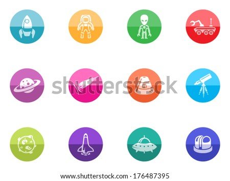 Space icon series in color circles.  - stock vector