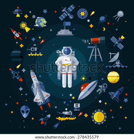 Space icons composition - stock vector
