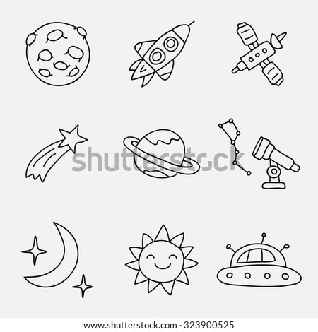 Space icons, hand-drawn. Vector.