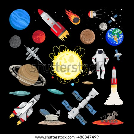 Space icons in flat style. Vector union station, rocket, shuttle space ship, planets and earth illustration