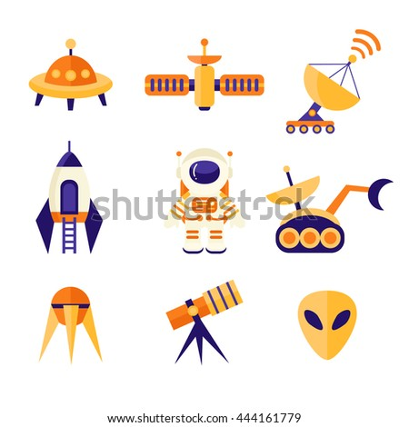 Space Icons Set in flat style. Astronaut, shuttle, alien, rocket, ufo, radar, telescope, satellite. Cosmos exploration elements, vector collection - stock vector