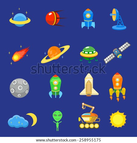 Space icons set of rocket  galaxy  planet ufo sun vector illustration