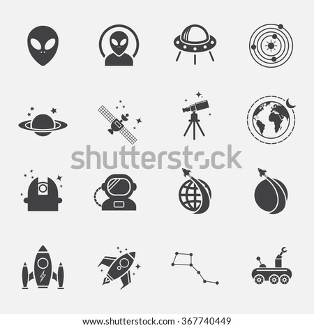 Space icons set.vector.