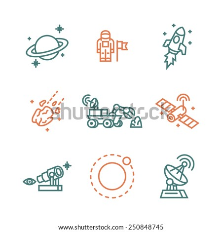 Space icons. Vector illustration. - stock vector