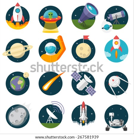 Space, Illustration series, Flat style, isolated on white background - stock vector