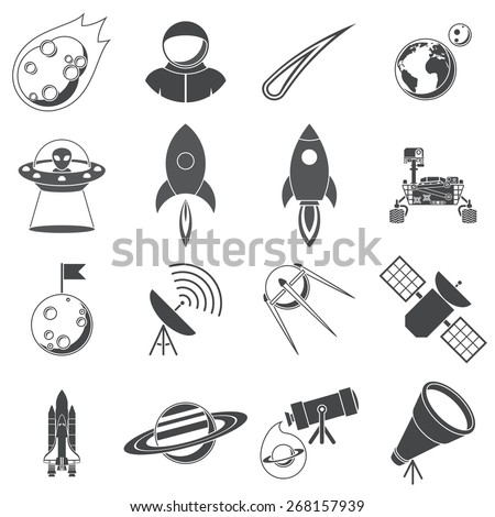Space, Illustration series, silhouettes, isolated on white background - stock vector