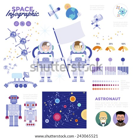 Space Infographic. With flat icons of satellites planets meteor and characters of astronaut holding a flag with suggestions of interstellar space exploration. Modern Flat Vector Design Illustration. - stock vector