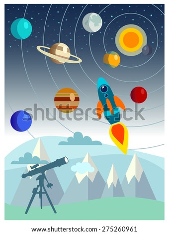 Space landscape: stars, planets, comet, ufo, stardust. Solar system. Vector flat illustrations and background - stock vector