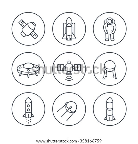space line icons in circles, satellite, astronaut, space shuttle, spaceship, rocket, vector illustration - stock vector