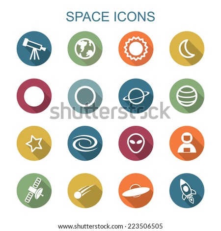 space long shadow icons, flat vector symbols - stock vector