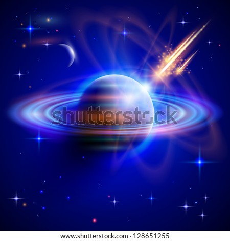 Space - Meteor attack blue planet. Vector drawing / Eps10 - stock vector