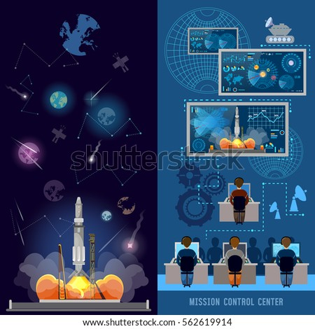 Space Mission Control Center Banner Start Stock Vector ...