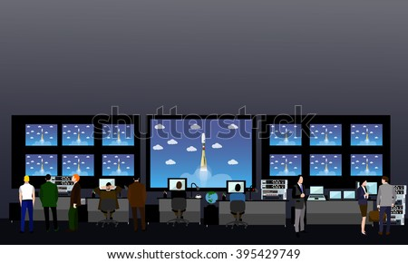 Space mission control center. Rocket launch vector illustration. - stock vector