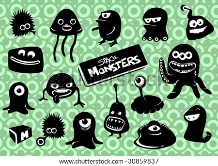 Space Monsters strikes back * each monster grouped separately - stock vector
