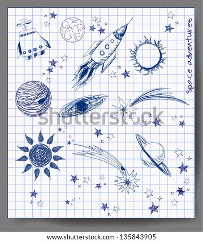 Space objects sketch. Vector illustration - stock vector