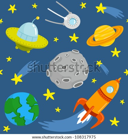 Space pattern. Seamless pattern cartoon space.