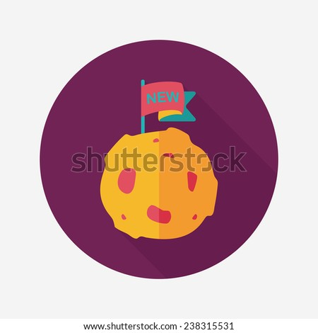 Space planet flat icon with long shadow,eps10 - stock vector