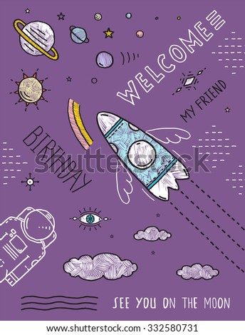 Space Planets Stars Cosmonaut Spaceship Flight Line Art Poster or Invitation Design. Cosmic theme outline black lines and colors, hand drawn birthday party invitation card. Vector illustration.  - stock vector