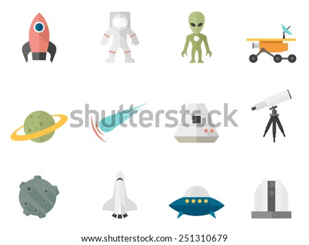 Space related icons in flat color style
