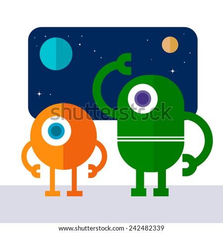 Space robot - stock vector