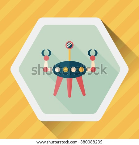 Space robot flat icon with long shadow,eps10 - stock vector
