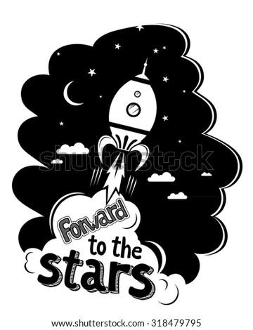 Space rocket flying in sky, flat design vector illustration - stock vector