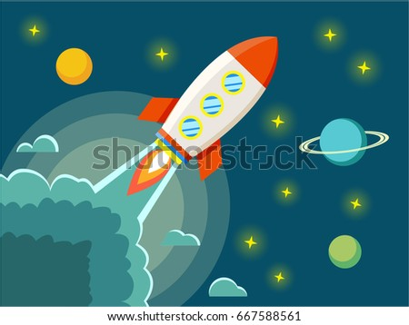 Space rocket in cosmos vector flat illustration