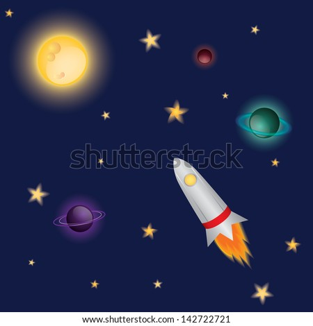 Space rocket in the night sky flying to the moon