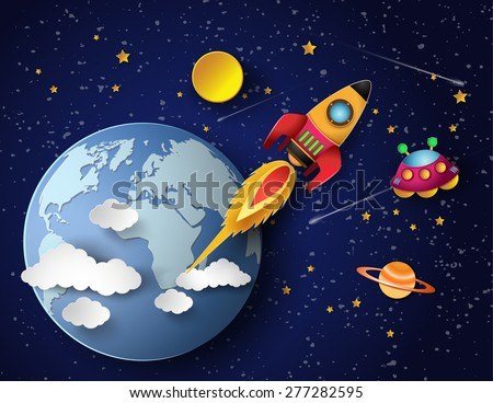 Space rocket launch and galaxy . Vector illustration art style.