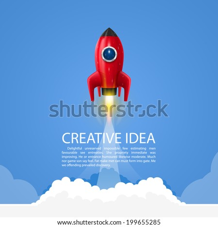 Space rocket launch. Vector - stock vector