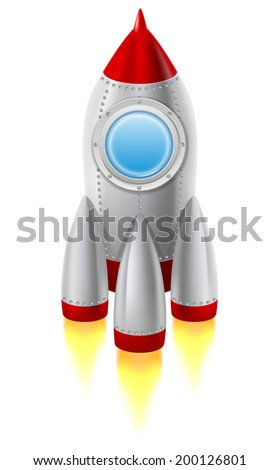 Space rocket takes off from the ground. Vector illustration, isolated on white background. - stock vector