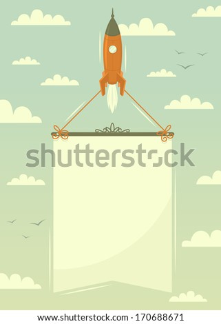 Space rocket with banner. Vector illustration.  - stock vector