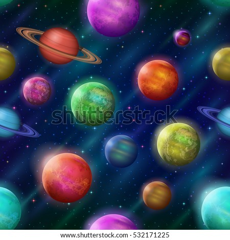 Space Seamless Background with Various Fantastic Planets and Moons. Tile Pattern for Your Web Design. Elements of This Image Furnished By NASA. Eps10, Contains Transparencies. Vector