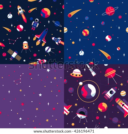 Space seamless patterns samples 4 flat icons square composition with colorful spacecrafts and planets abstract vector illustration  - stock vector