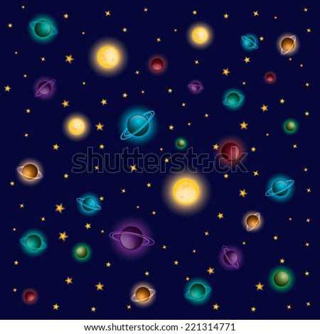 Space seamless vector pattern with stars and planets - stock vector
