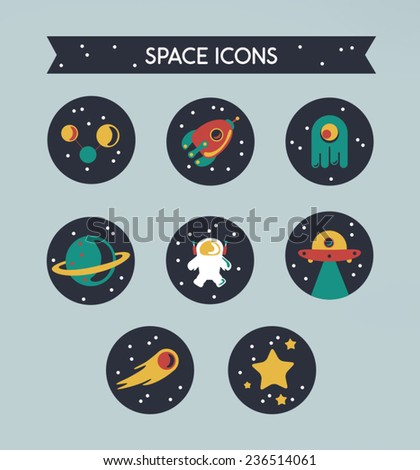 Space set icons - stock vector