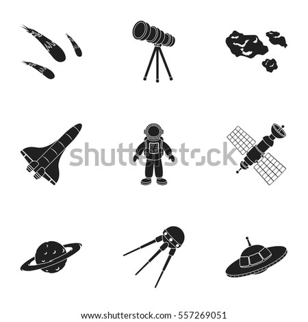 Space set icons in black style. Big collection of space vector symbol stock illustration